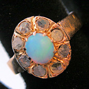 Antique Georgian Opal Rose Cut Diamond 16K Rose Gold Ring