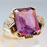 Edwardian Alexandrite Diamond 10K Gold Ring Size 6