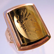 1800s Victorian Intaglio Cameo Ring Tiger Eye Mens 18K Rose Gold Filled Size 7