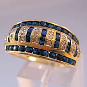 14K Sapphire Diamond Ring Cigar Band Channel Pave Set Estate Size 9