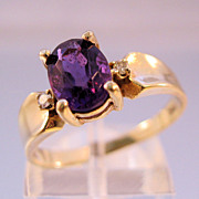 Estate 10K Amethyst Diamond Ring Size 8 1/2