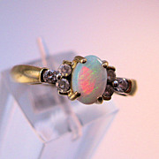 Estate Opal Diamond 14K Gold Ring Size 7 1/4