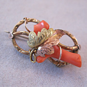 REDUCED 1800s Victorian Love Knot Brooch 10K Coral Tri-Colored Gold Rose Gold