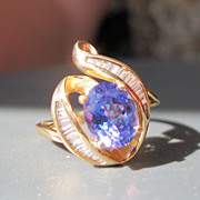 SALE PENDING Estate 14K 2 1/2 ct Tanzanite & 1/3 ct Baguette Diamond Ring Size 8 1/2