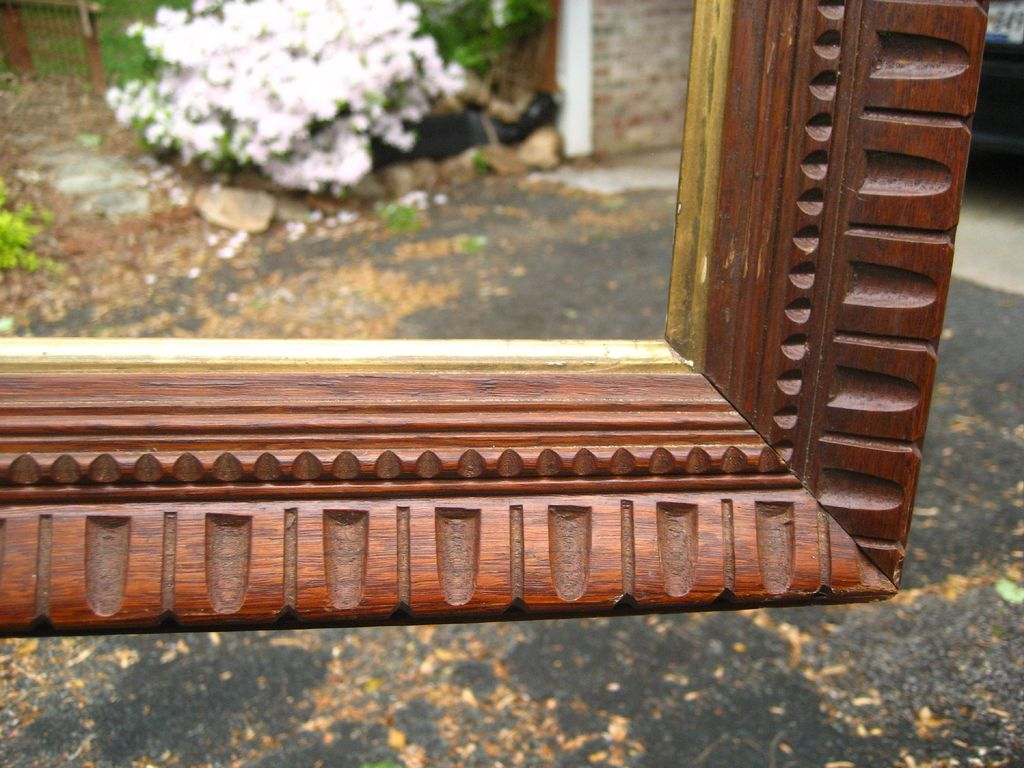 c1870 Large American Victorian Carved Walnut Antique Frame