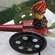 SALE SALE!  1930's German Cannon Mechanical Tin Toy with soldier, 3 wheels