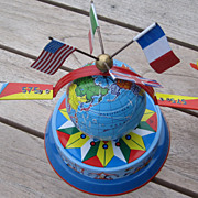 SALE 1960s German Planes Circling World (Earth or Globe) with 4 Flags Tin Toy