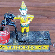SOLD Antique Hubley Trick Dog Mechanical Cast Iron Bank