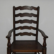 Ribbon Ladder Back Oak Chairs, matching pair, Early English Design