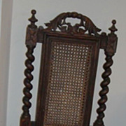 SALE PENDING Jacobean chair, European antique barley twist hand carved  dark patina cane seat