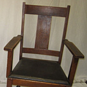 New England oak mission T back arm chair, Keene signed , large dining or den, black ...