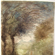 Just Becquet , antique French watercolor , transcendent landscape