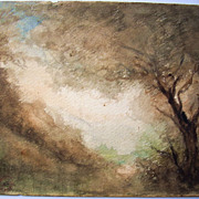 Just Becquet , antique French watercolor , ethereal wooded landscape