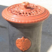 Coal Stove round small colorful enameled iron