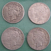 SOLD (4) PEACE Silver Dollars1922-S, 1923-S, 1924, & 1926-S