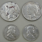 SOLD Silver Coin Assortment: (2) Peace Dollars & (2) Franklin Half-Dollars