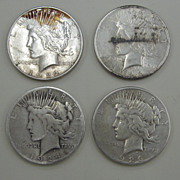 SOLD (4) Peace Dollars: 1922...1923-S...1924-S...1926-S