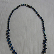 SALE Vintage Blue Rhinestone Necklace...16&quot; Length...Hinged Closure