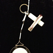 SOLD Enamel compact / chatelaine