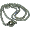 14K White Gold Labradorite and Tahitian Cultured Pearl Necklace