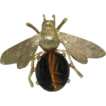 Retro 14K Scarab Tiger's Eye Bee Brooch