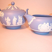 Wedgwood Blue Jasperware Sugar and Creamer Set