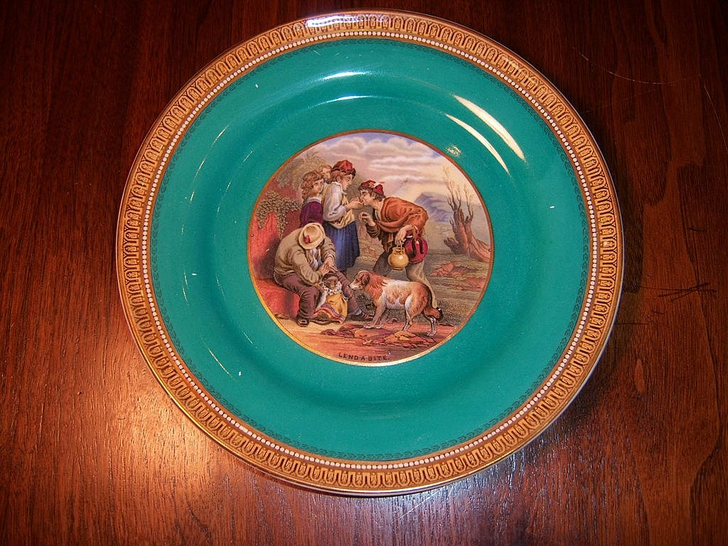 Prattware, &quot;Lend a Bite&quot;  Plate, F. & R. Pratt & Co.