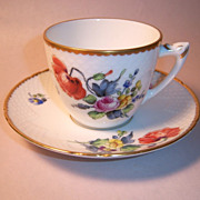 SALE Bing & Grondahl Saxon Flowers White Cup & Saucer Set