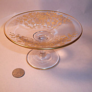 Vintage Gold-Enrusted Etched Crystal Compote