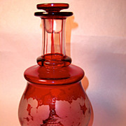 Vintage Ruby Bohemian Cut to Clear, Frosted Decanter