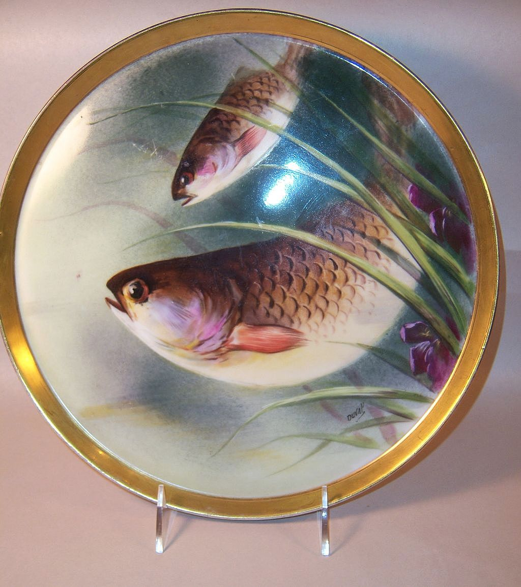 T & V Limoge Superb Hand Painted Fish Platter, Signed Duval
