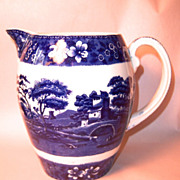 Spode Blue Tower Jug, Old Mark