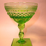 Stunning 19th Century Green Cut Crystal Sherbet