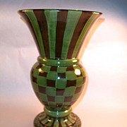 MacKenzie-Childs Heather Huge Brown & Check Vase