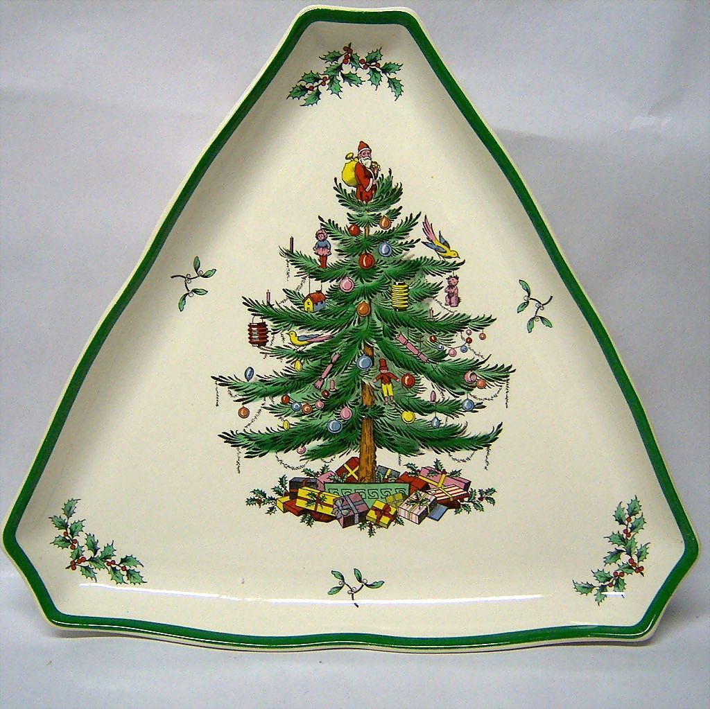 Spode quotchristmas treequot large triangular tray from for Christmas tree tray floor