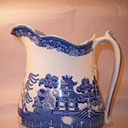Edge Malkin Nineteenth Century Blue Willow Large Water Pitcher