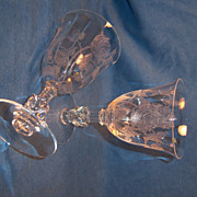 Pair Heisey ROSE Water Goblets