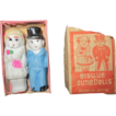 "Miniature vintage 1940's bride and groom bisque cutie dolls 2"" tall in partial original box"