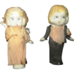 "Bride and Groom bisque miniature dolls in tissue paper outfits adorable 2-1/2"" tall"