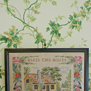 SOLD Cross Stitch Cottage and Motto