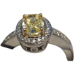 1.02CT Oval GIA Fancy Diamond Jewelry Ring Platinum & Gold