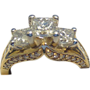 REDUCED 1.95CTW G-H S12 Princess & Round Diamond Jewelry Ring