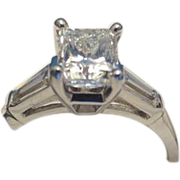 REDUCED 1.01CT H SI1 Princess Cut Diamond Jewelry Ring Set in Platinum