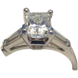 1.01CT H SI1 Princess Cut Diamond Jewelry Ring Set in Platinum