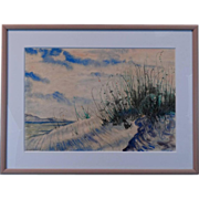 "Thomas Hermansader Original Watercolor "" Sand Dune "" w/COA"