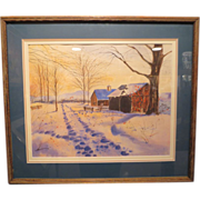 "Original Thomas Hermansader Watercolor "" Day's End "" w/COA"