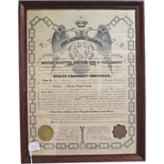 "Framed Vintage Masonic Document ""Supreme Council"""
