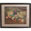 Primitive Watercolor Fruit Bowl Signed/Dated 1912