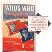 RARE 1941 &quot;Who's Who In The Major Leagues&quot; Baseball Book