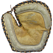 "1940's ""Olympic"" Soft Ball Mitt 2-Tone Leather w/Black Buckle"